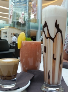 Our drinks at the Guylian Cafe